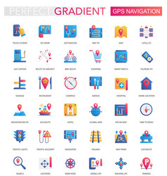 set trendy flat gradient gps navigation vector image