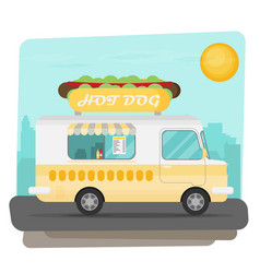 Street fast food truck set flat design vector