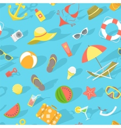 Summer beach essentials seamless pattern vector image