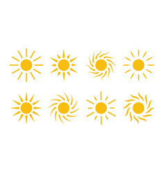 sun icon cartoon simple flat design elements vector image