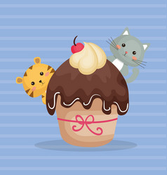 Sweet and delicious cupcake with cats characters vector
