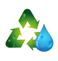 Symbol of recycling and water drop vector