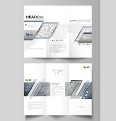 tri-fold brochure business templates on both sides vector image