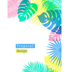 Tropical flowers and palms summer background with vector