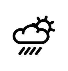 weather line icon sun behind the cloud with rain vector image