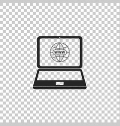 website on laptop screen icon isolated vector image