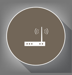Wifi modem sign white icon on brown vector