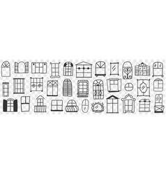 windows and frames doodle set vector image