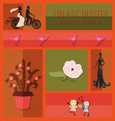 With wedding and flowers vector