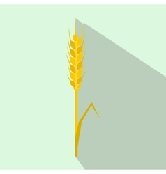 Yellow rye ear icon flat style vector image
