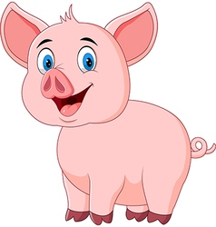 Cute pig posing isolated on white background vector image vector image