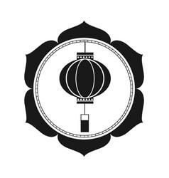Lantern chinese traditional circular emblem vector
