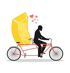 Lover gold Golden bullion on bicycle Lovers of vector image vector image