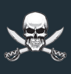 Pirates skull and swords vector