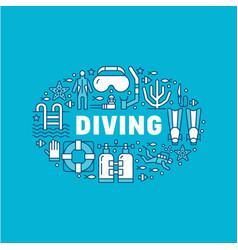 scuba diving snorkeling banner vector image vector image
