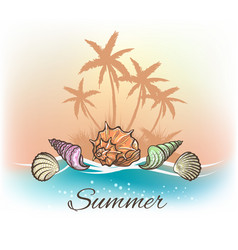 sea shells and palm trees banner vector image vector image