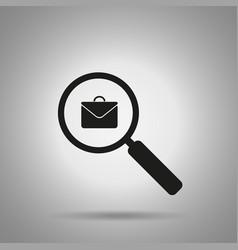 search job icon magnifier and briefcase symbol vector image