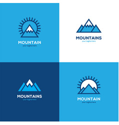 Set of four geometric linear mountain logo vector