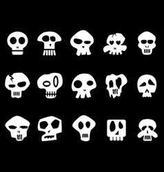 white funny skull icons on black background vector image vector image