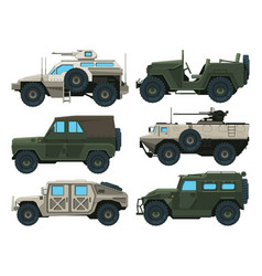 army vehicles set colored vector image