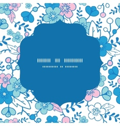 blue and pink kimono blossoms circle frame vector image