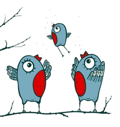 Happy Birds Family Teaching to Fly vector image vector image
