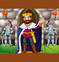king and two knights at the castle vector image vector image