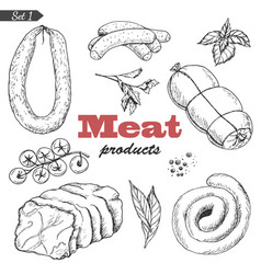 set of isolated meat products vector image vector image