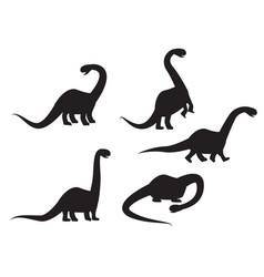 silhouette of brontosaurus dinosaur vector image