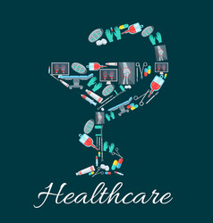 Snake and cup pharmacy symbol with medical icons vector