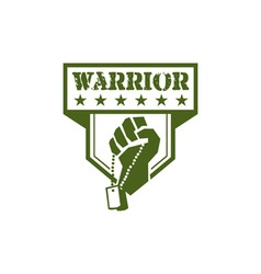 Soldier Hand Clutching Dogtag Warrior Crest Retro vector image