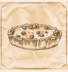 Sweet retro pie with berries treat for the vector