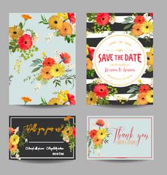 vintage summer flowers wedding invitation rsvp vector image vector image