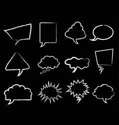 white speech bubbles outline on black background vector image vector image