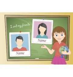 Yearbook about schoolgirl and chalkboard vector image vector image