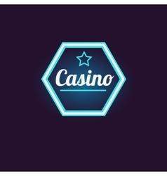 Blue Hexahedron Casino Neon Sign vector image vector image