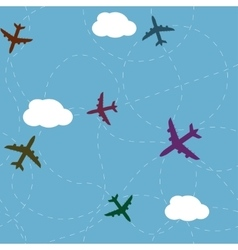 Cartoon airplane path seamless pattern vector image
