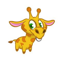 cartoon of funny cute giraffe vector image vector image
