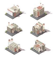Isometric Factory Icon Set vector image