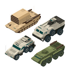 isometric pictures of army heavy vehicles vector image