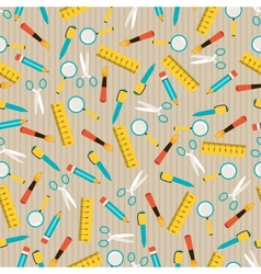 Seamless pattern with school icons vector image