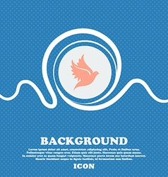 Dove sign icon Blue and white abstract background vector image vector image