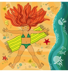 Redhead smiling girl on the sea beach vector image vector image