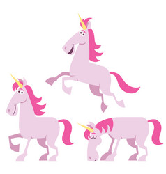 unicorn cartoon set vector image vector image