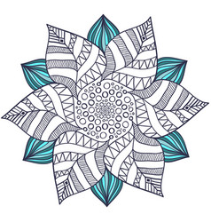 unique mandala in floral style circle zentangle vector image vector image