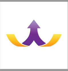 1 purple arrow divided from middle on 2 gold lines vector