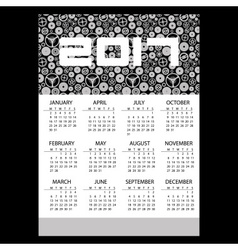 2017 simple business wall calendar with clock vector image