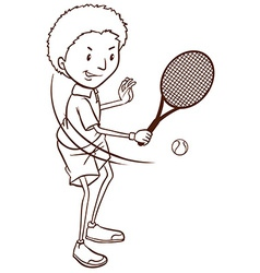 A simple sketch of a boy playing tennis vector