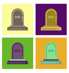 assembly flat icons halloween stone grave vector image