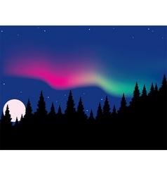 Aurora polaris over forest vector